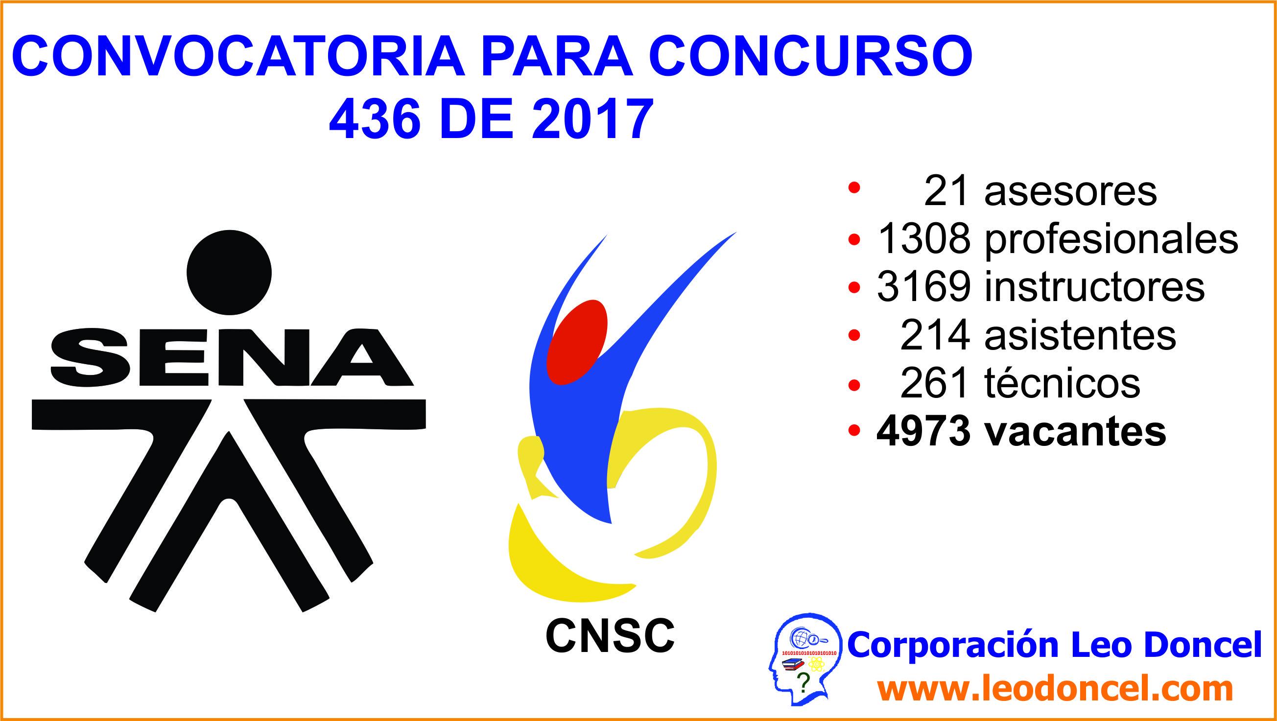 Convocatoria concurso 436 de 2017 servicio nacional de for Convocatoria de docentes 2017